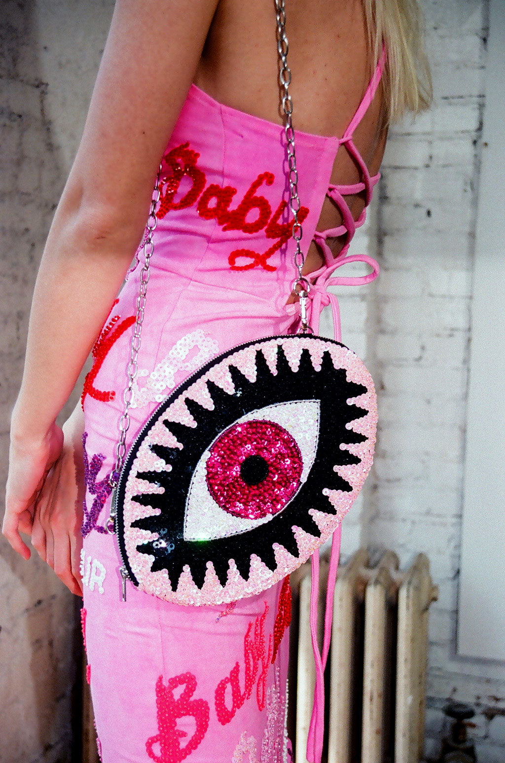 Pink Evil Eye Clutch bag with shoulder chain