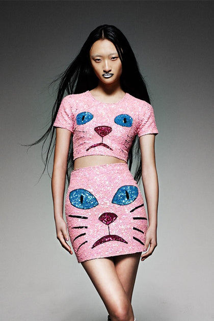 'PINK PUSSY' Cropped Sequinned Top