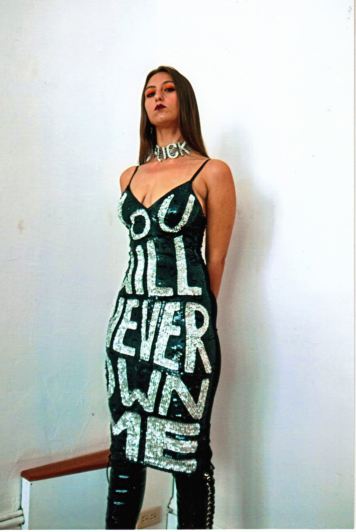 'YOU WILL NEVER OWN ME' Bralet Dress Black