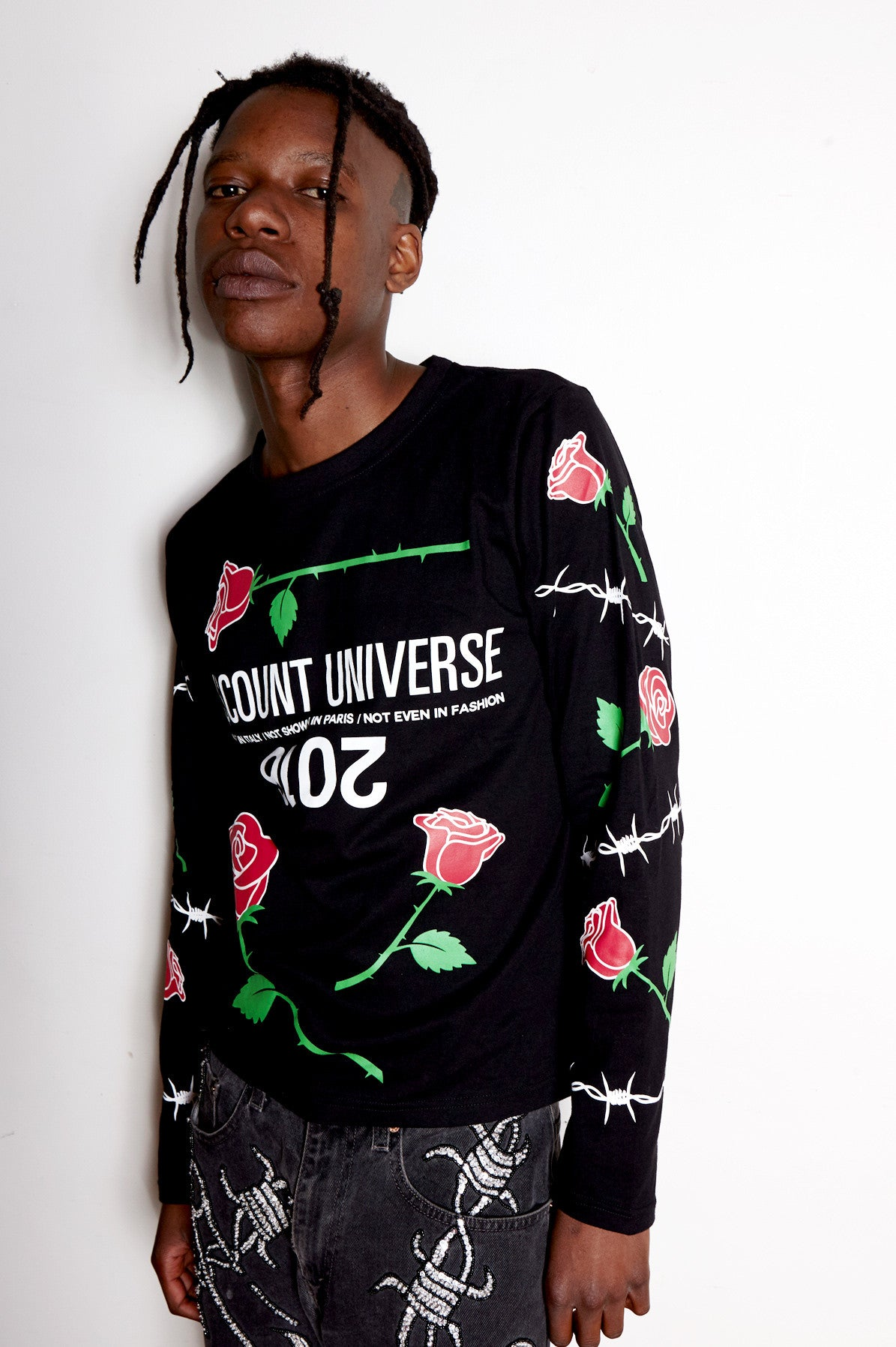 roses are red tee, roses tee, roses are red long sleeve tee, long sleeve tee, tee, roses, printed tee, printed long sleeve tee, runway, msfw, 2016, discount universe, di$count universe