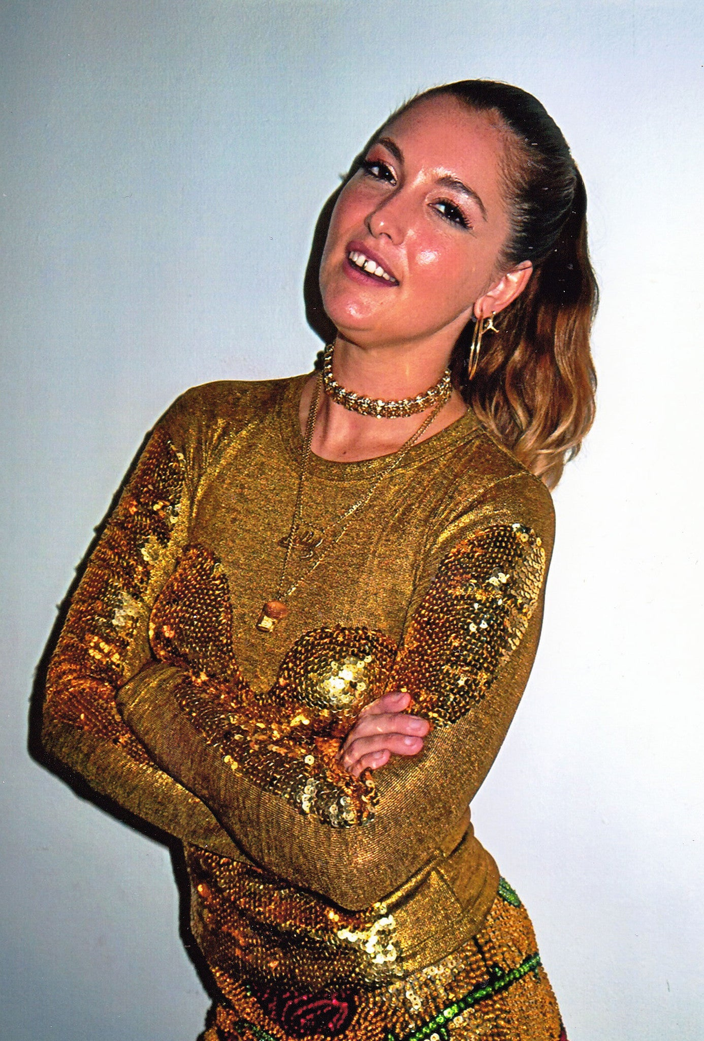 'HEAT MAP' Gold Sequin Long Sleeve Top