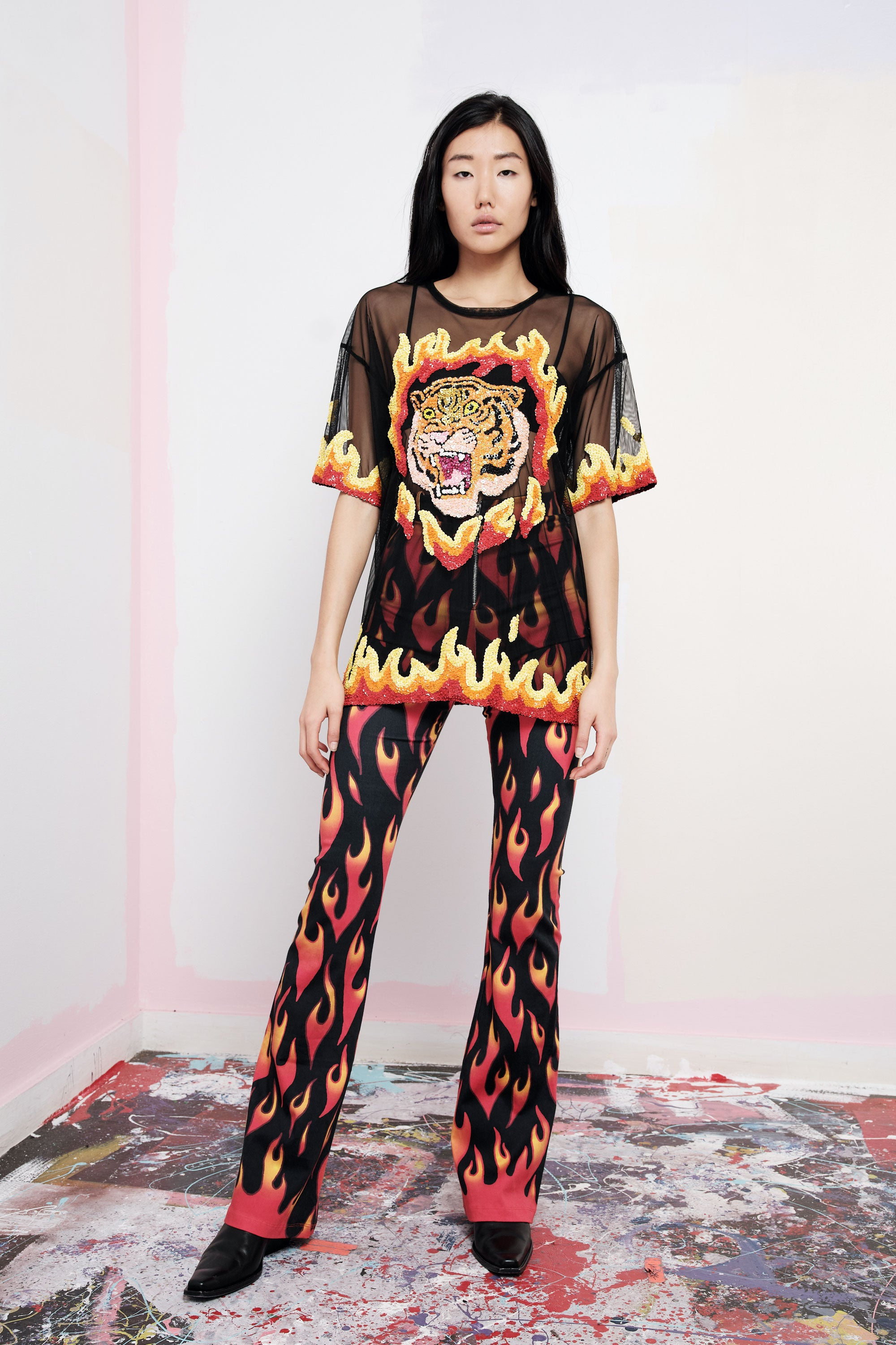 The Flaming Tiger Mesh Tee