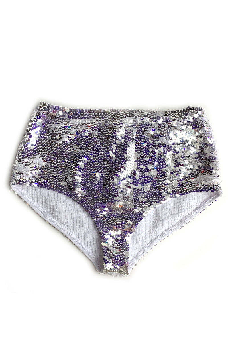 Silver Fully Sequined Bikini Bottoms