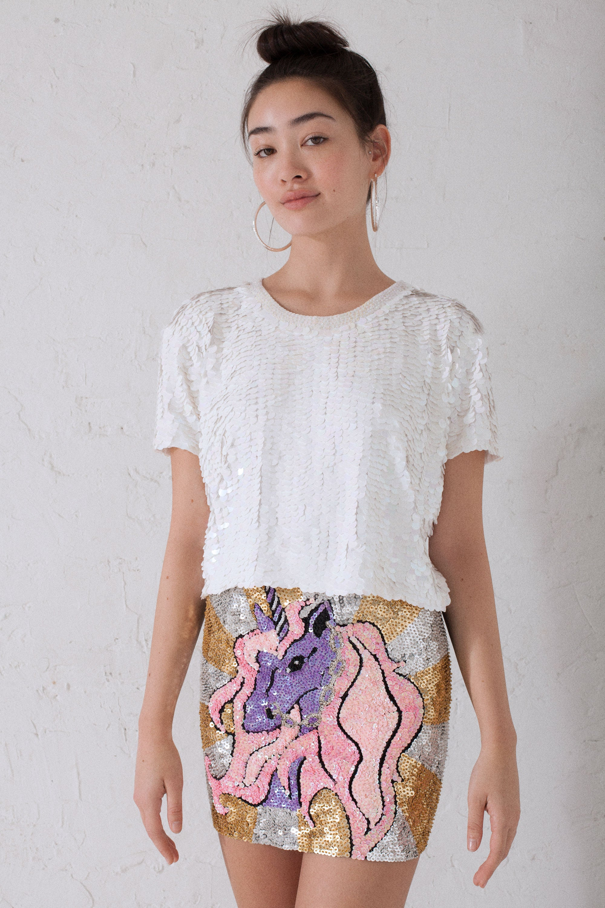 The Lola Tee in Iridescent White