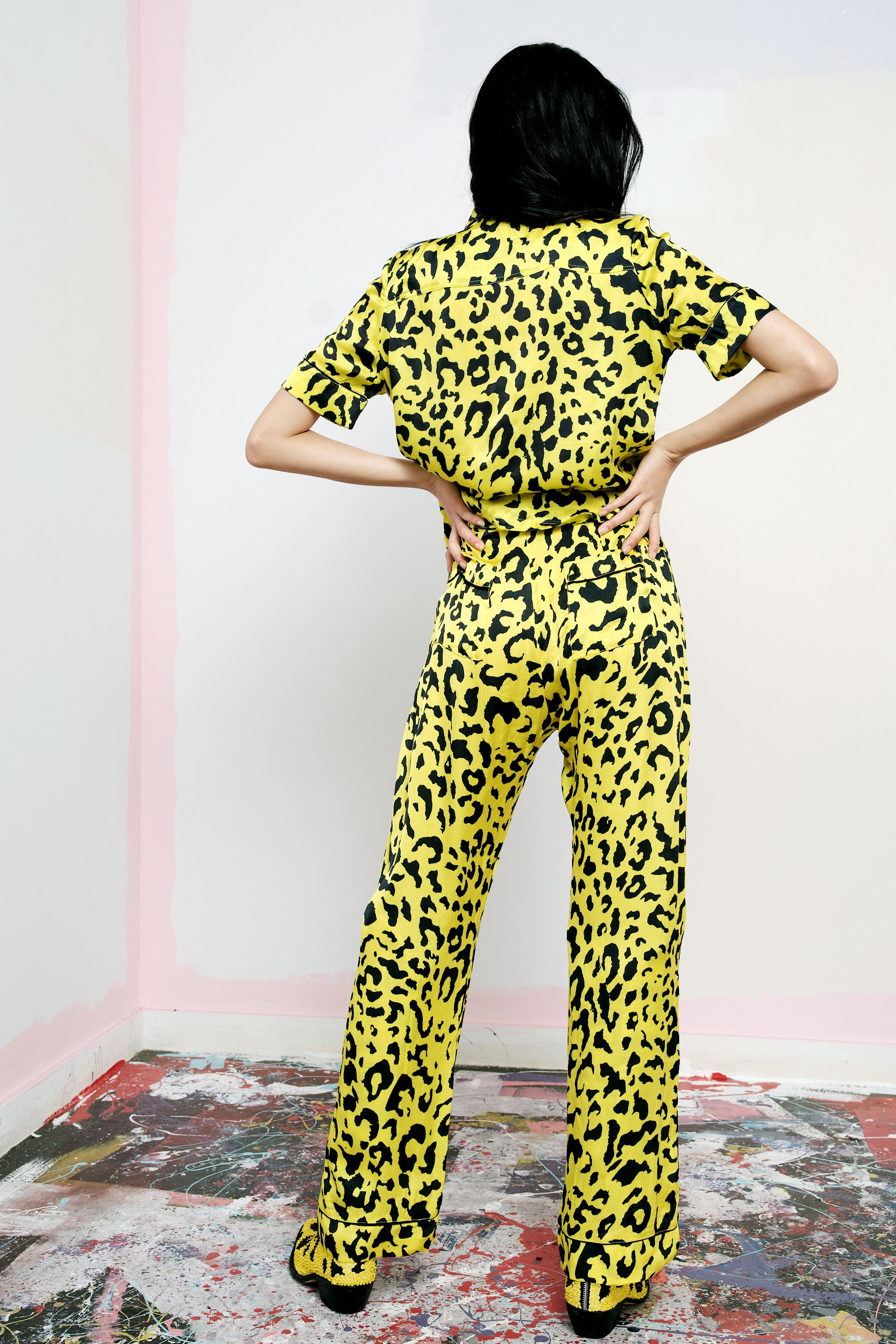 The Lounge Pant in Yellow Leopard