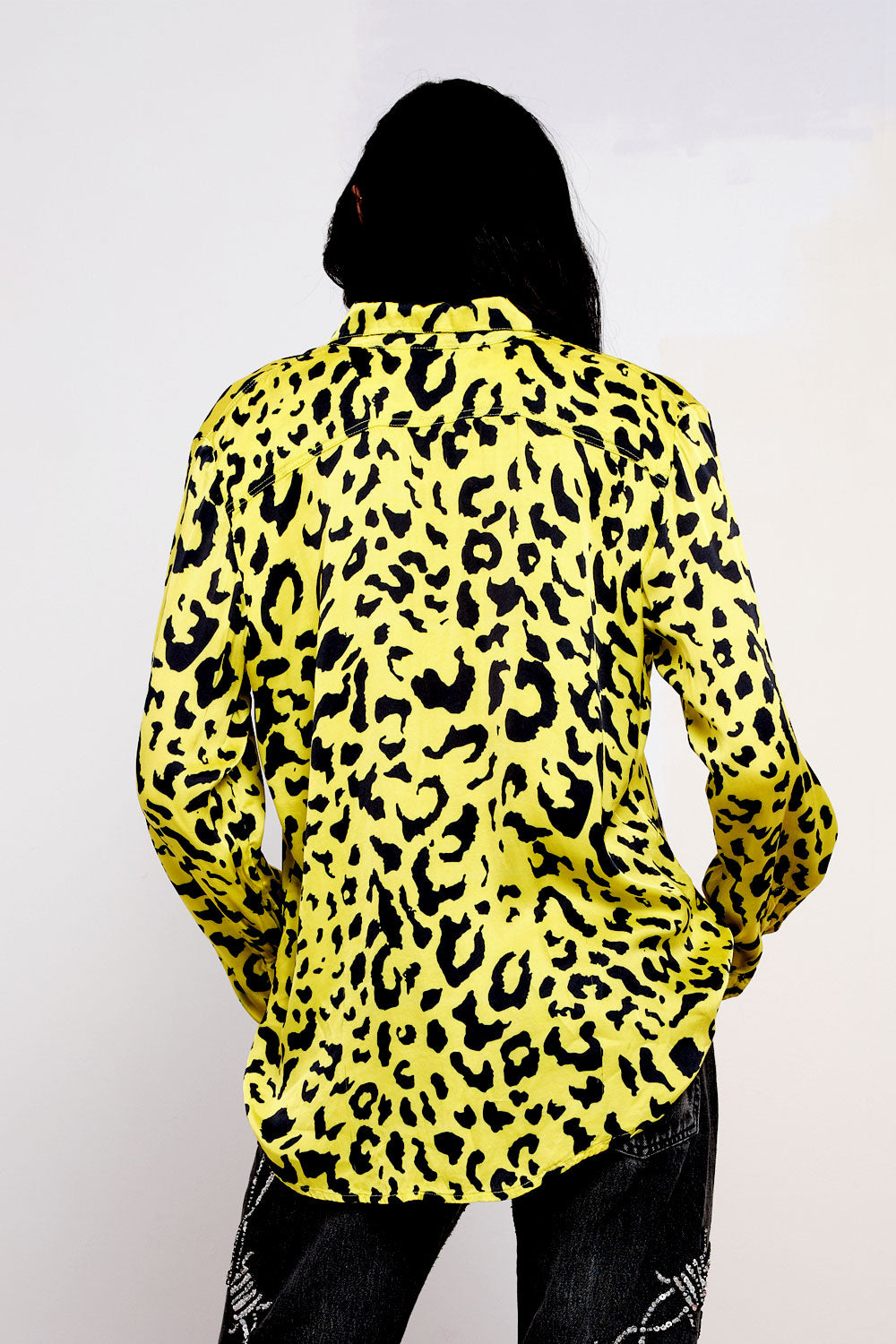 Yellow Leopard Print Button Down