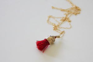 Red Tassel Organic Gold And Cotton Pendant