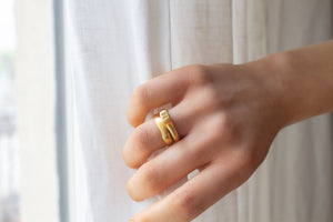 Crown Personalized Gold Initial Ring