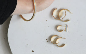 Minimalist Gold Plated And Concrete Bangle Bracelet By Hadas Shaham - hs