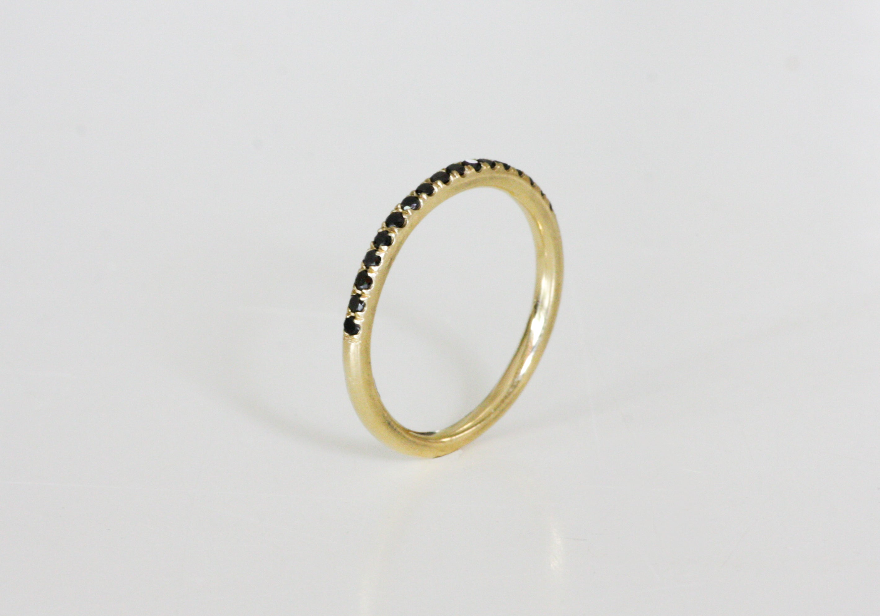 Half Eternity 14K Yellow Gold Ring Set With Black Diamonds