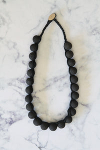 Rough knitted Black Lava Boho necklace