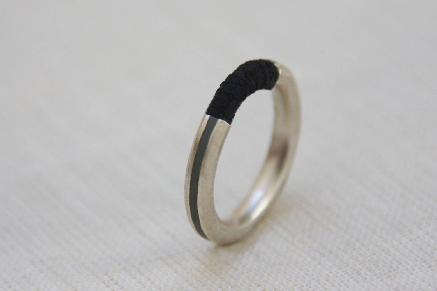 Silver and black ring, Silver and concrete band, Minimalist Silver Ring, Contemporary ring, modern ring, stacking ring, unique ring - hs