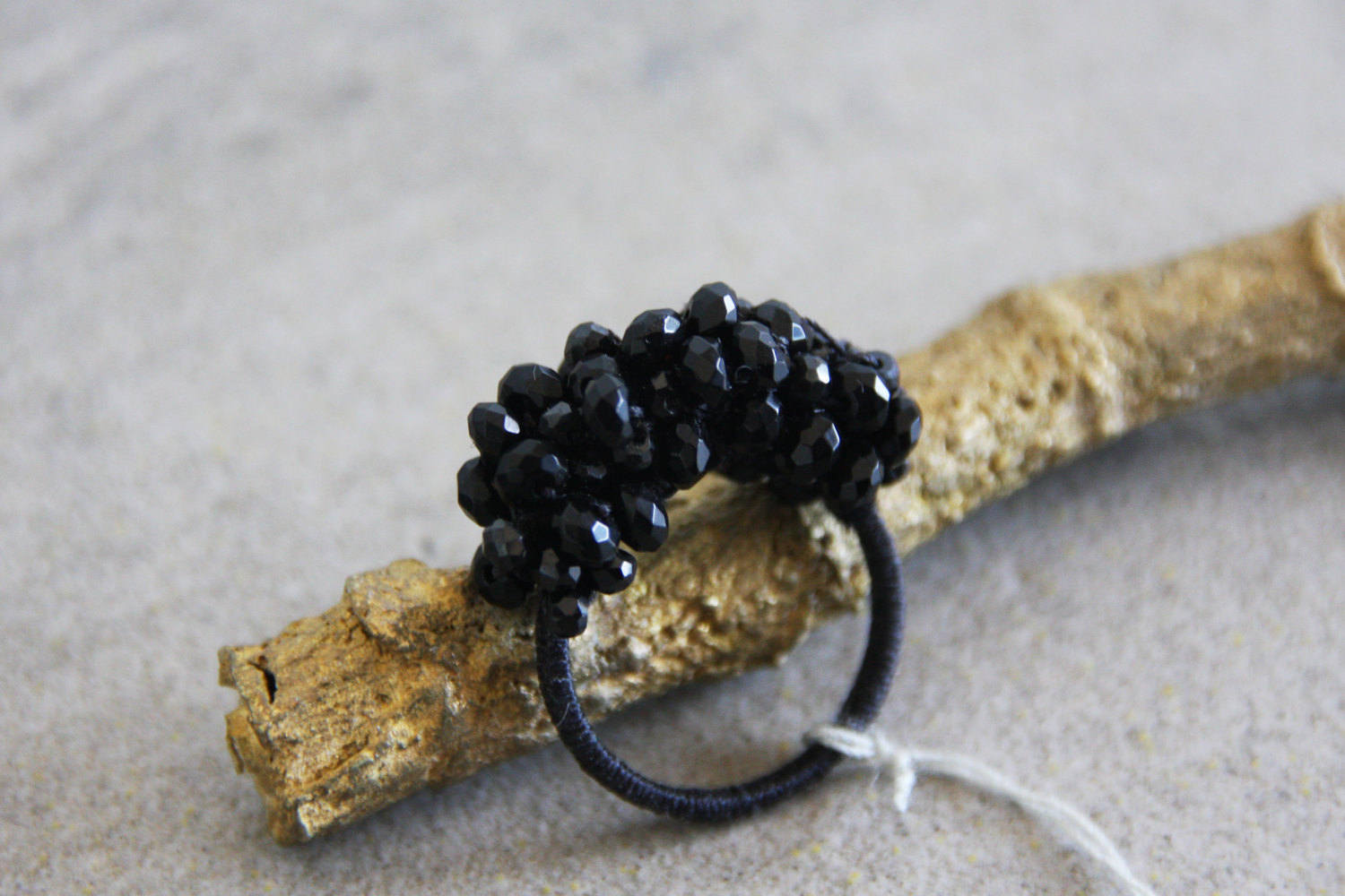 Sewn Ring, Black ring, spinel ring, Statment ring, contemporary ring, modern ring, Big ring, Hand made ring, Ring from beads, Statment look - hs