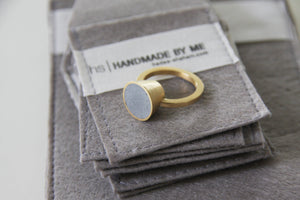 Gold plated ring, Unique statement ring, concrete ring, Cone ring, concrete jewellery, Contemporary ring, modern ring, hand made ring - hs