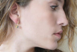 Tiny cube Gold & Concrete dangle Earrings with Gold leaf - hs