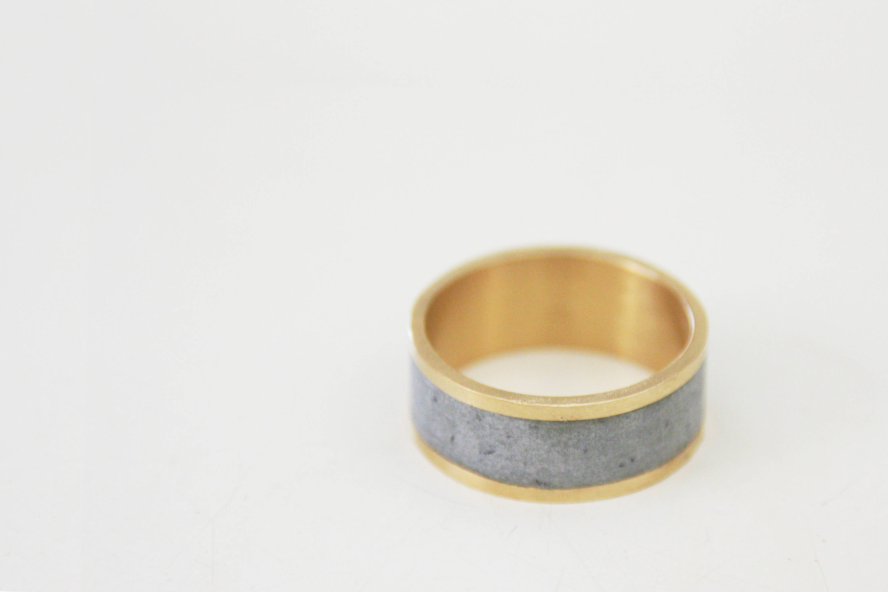 14K Yellow Gold And Concrete Wedding Ring / Wide Gold Wedding Band / Unisex Wedding Ring - hs