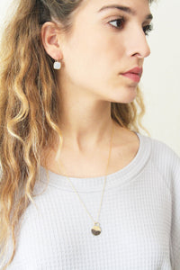 Square flat dangle concrete earrings - hs