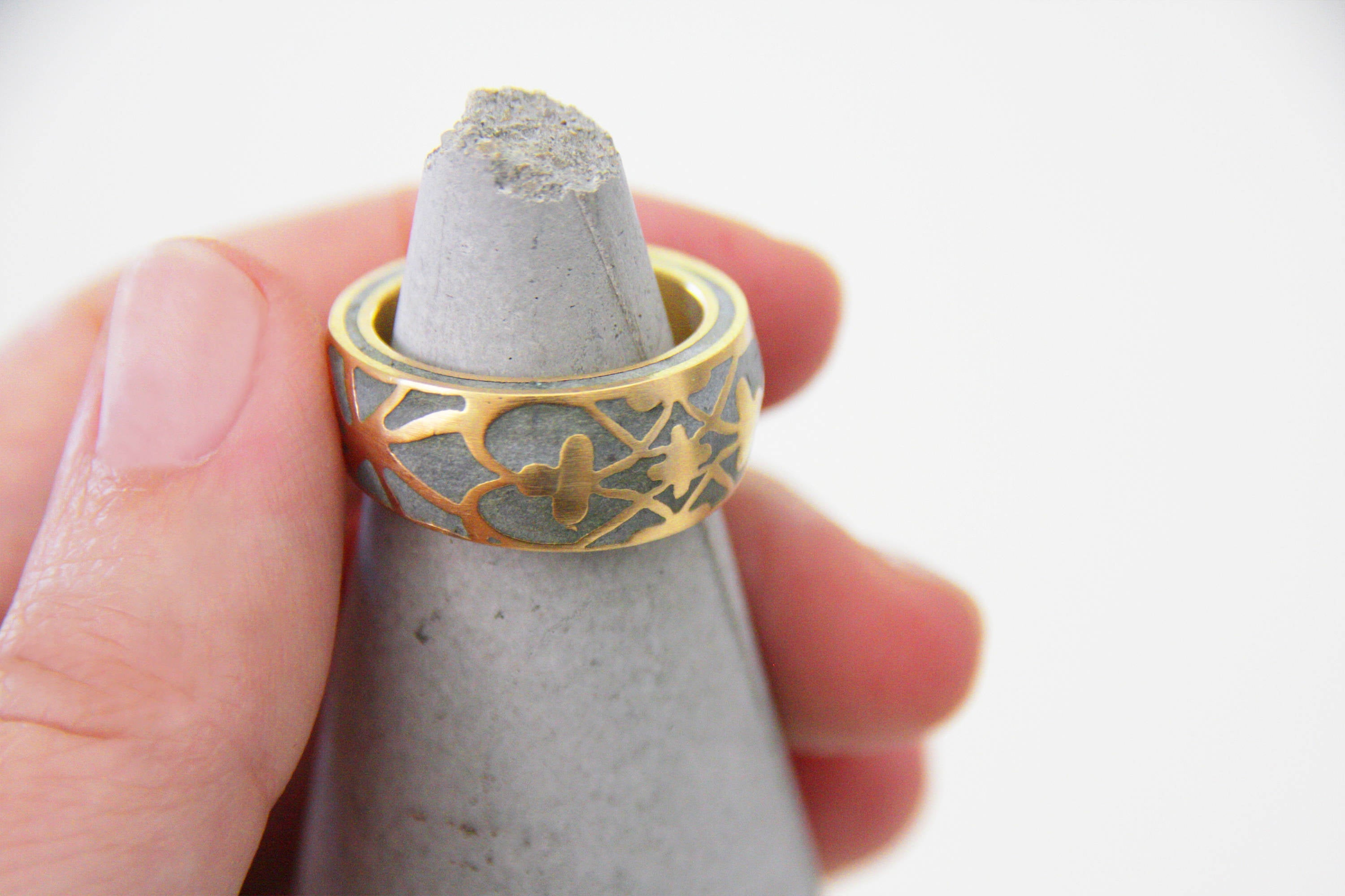 Statement concrete ring, Bold concrete ring,  Ethnic Pattern gold Ring, Big round Ring, plated gold Ornament ring, hadas shaham, hand made - hs
