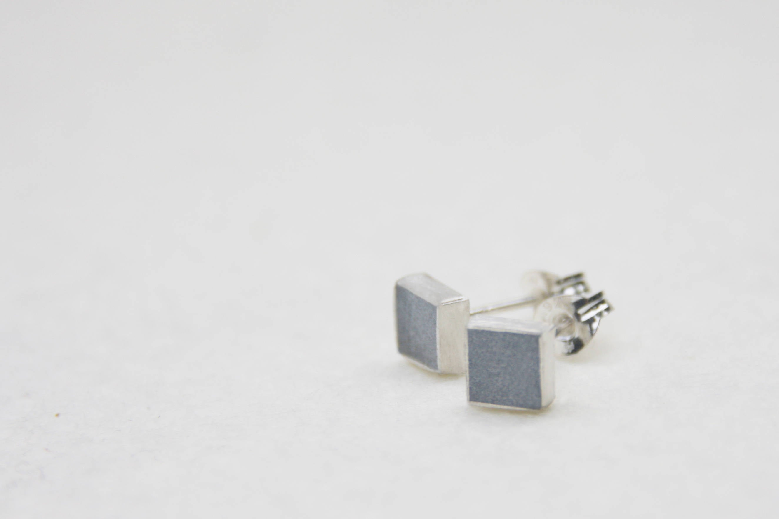 Modern geometric square concrete earrings posts - hs