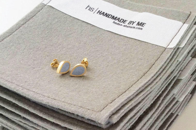 Concrete And Gold Teardrop Studs - hs