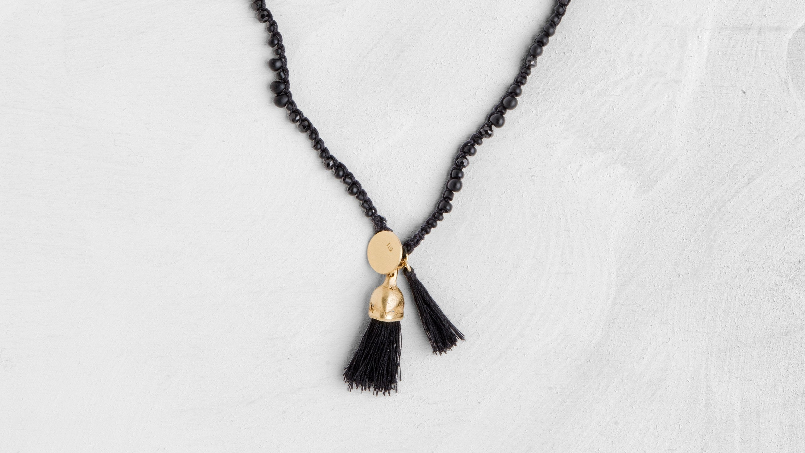 Black And Gold Necklace / Organic Gold Pendant / Spinel Necklace - hs