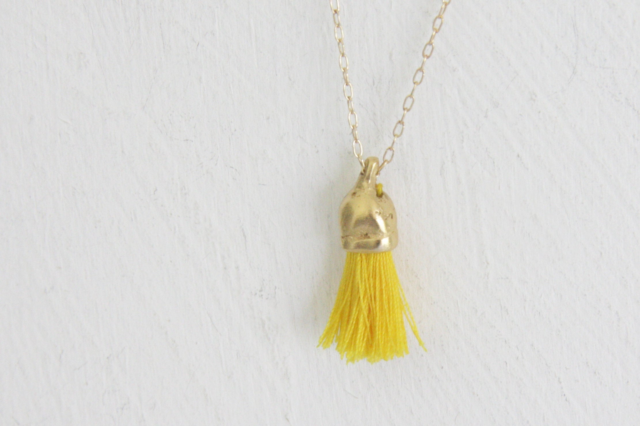 Gold necklace, Handmade unique necklace, organic necklace, Tassel necklace, Colorful necklace, Inspired by nature, Green and gold - hs