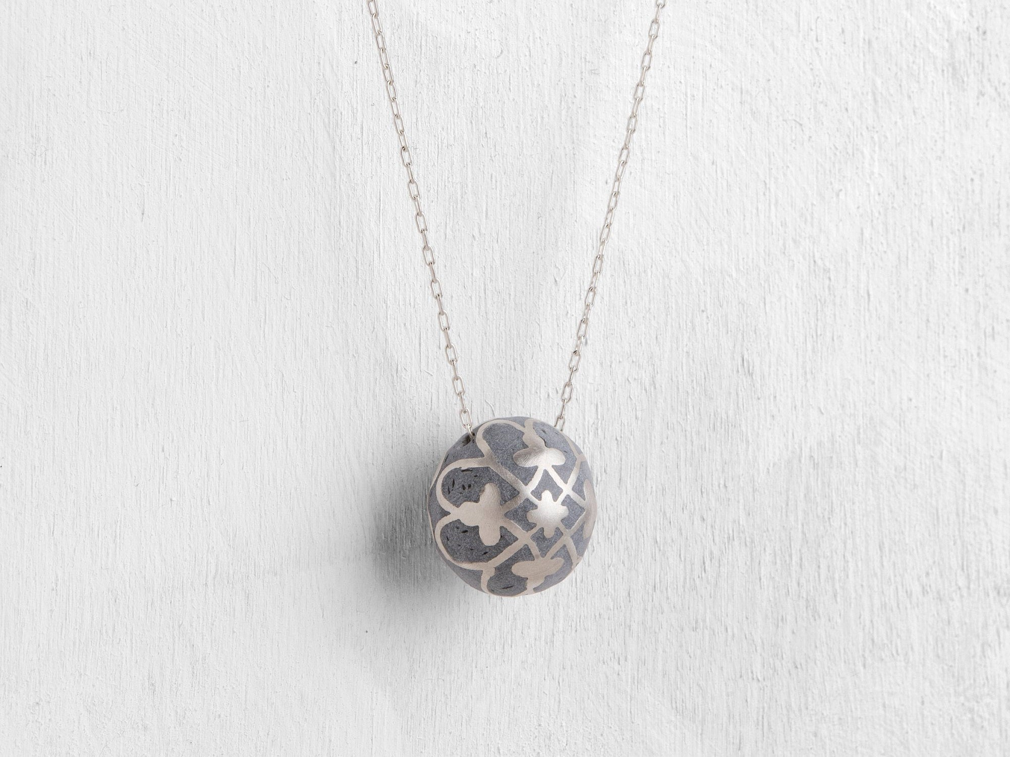 Silver Ball Necklace, Long delicate pendent, Ethnic pattern, hand made Necklace, Everyday Minimalist pendent, polymer concrete necklace - hs