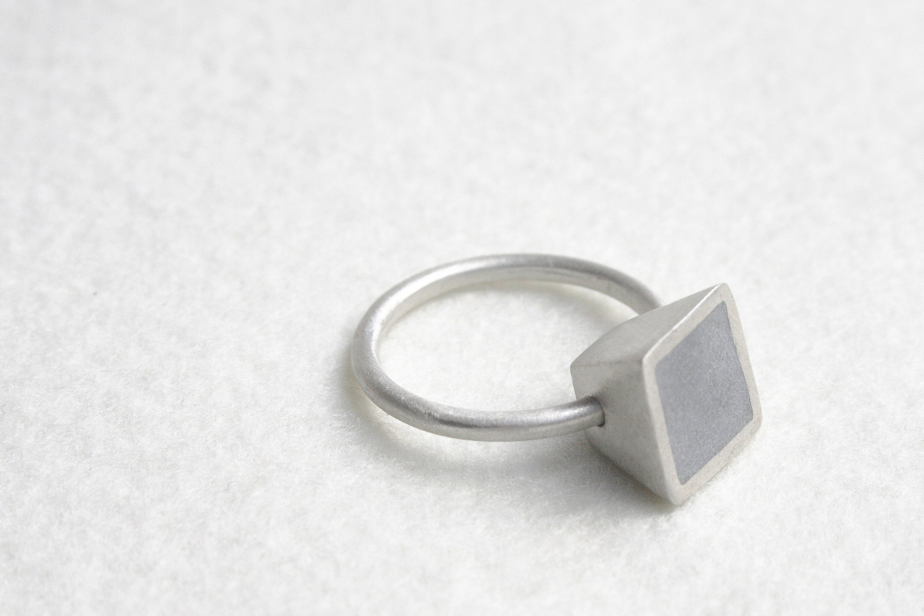 Square Cone Shape Silver Concrete Ring Design By Hadas Shaham - hs
