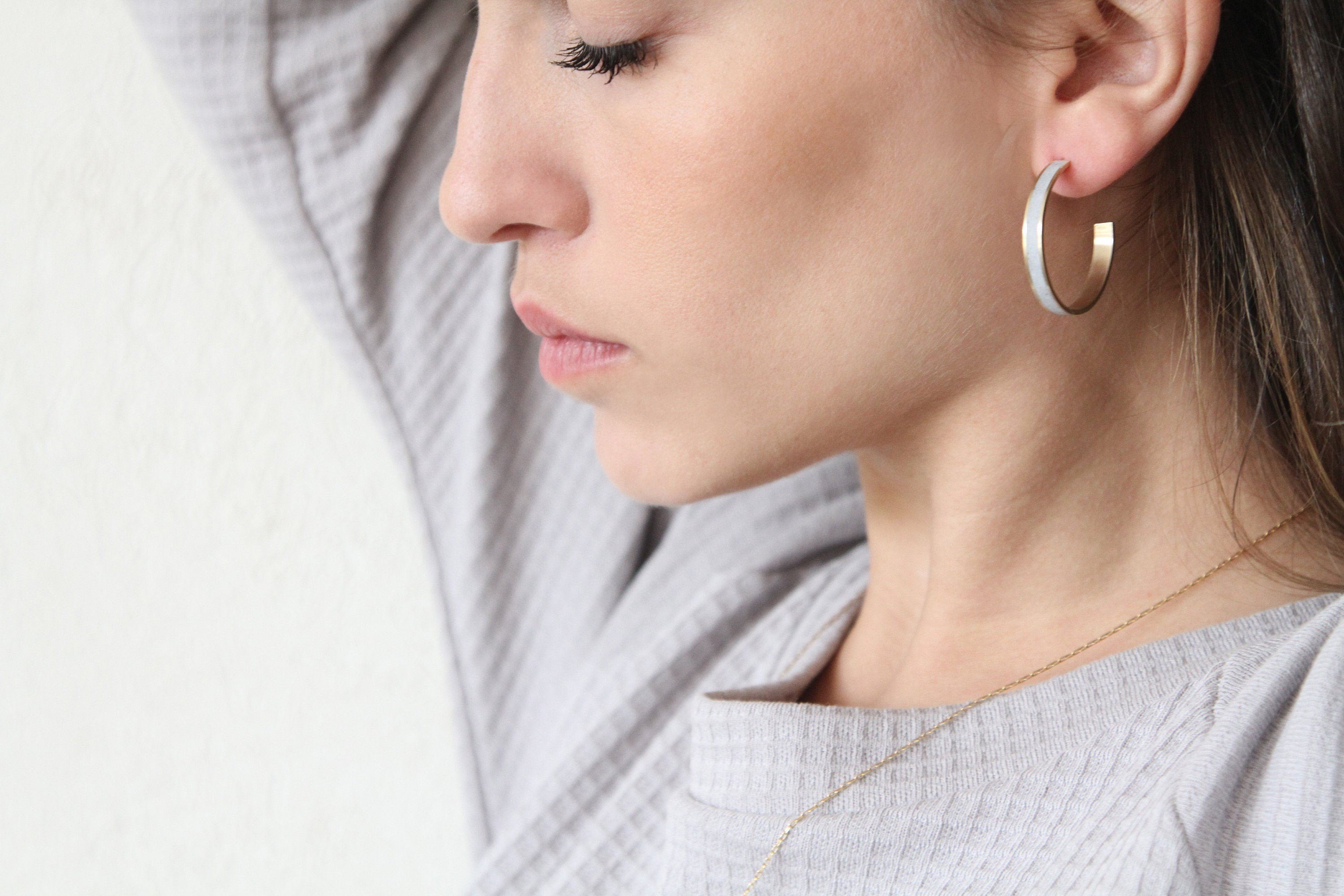 Minimalist Gold & Concrete Hoop Earrings - hs