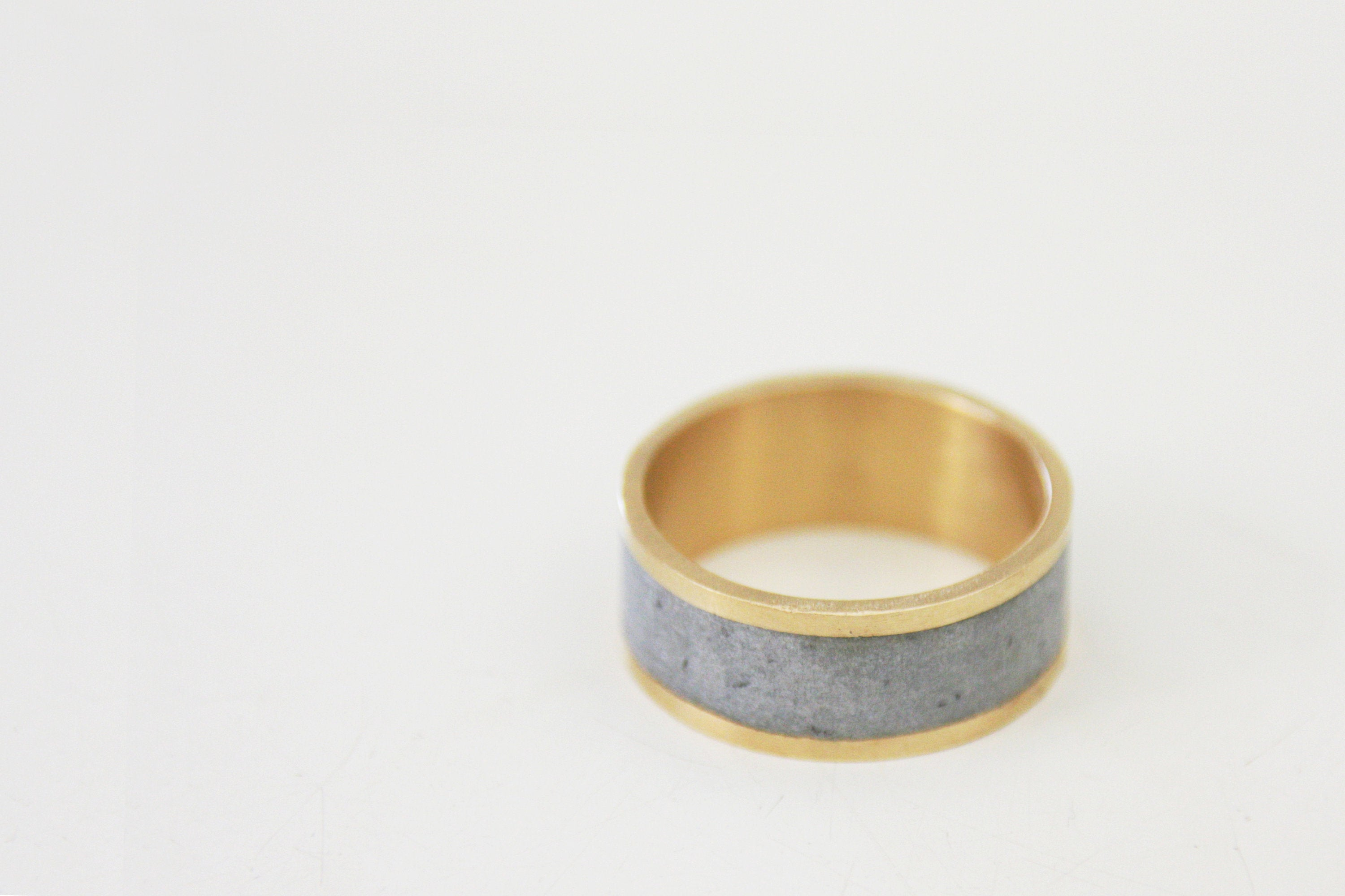 Concrete And Silver Minimalist Wide Wedding Band / Unisex Contemporary 925 Wedding Ring - hs