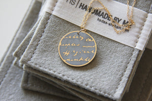 Round concrete & Gold Handwriting Text Pendant With A long goldfield Chain - hs