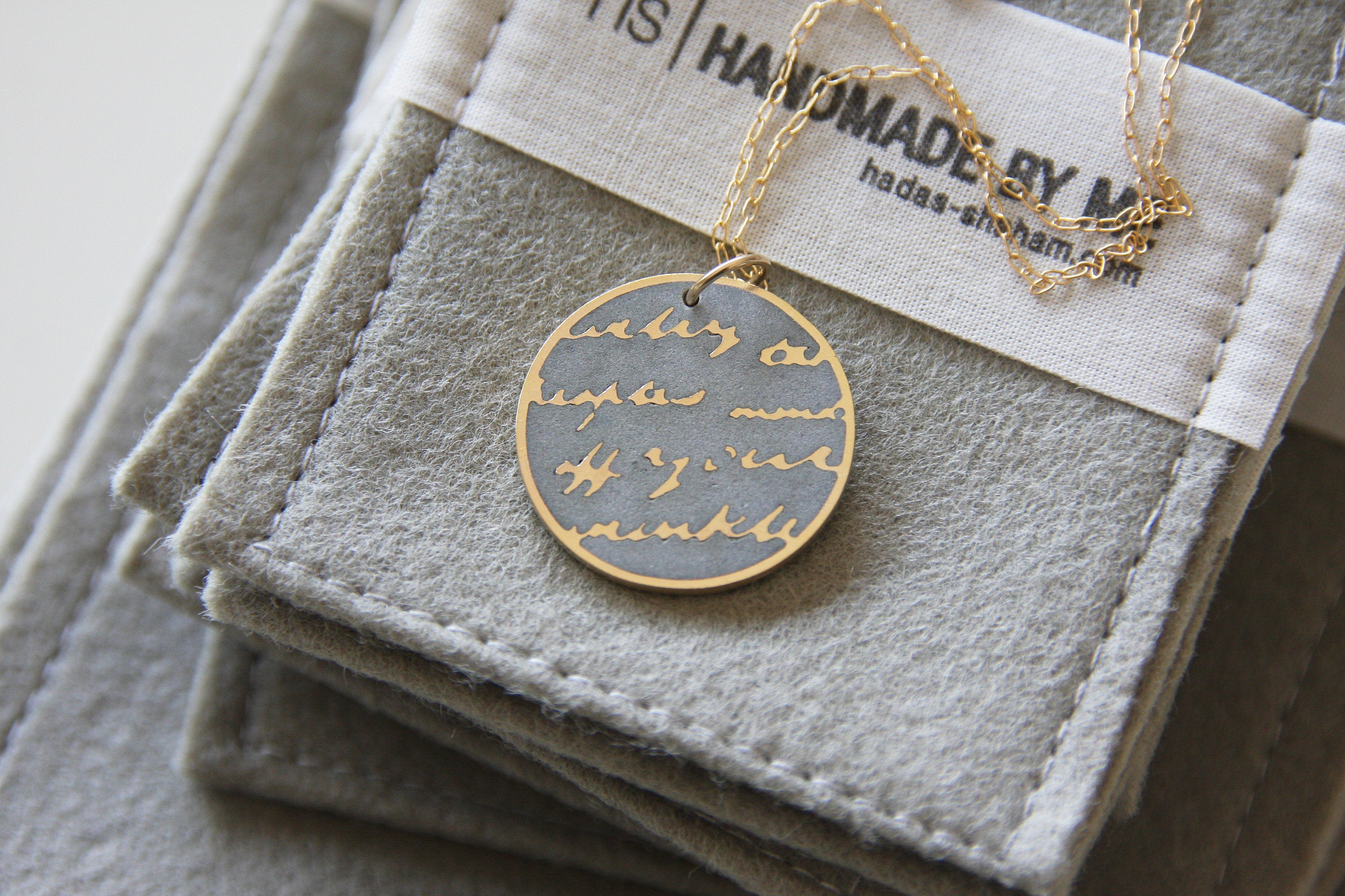Round concrete & Silver Handwriting Text Pendant With long Silver 925 Chain - hs