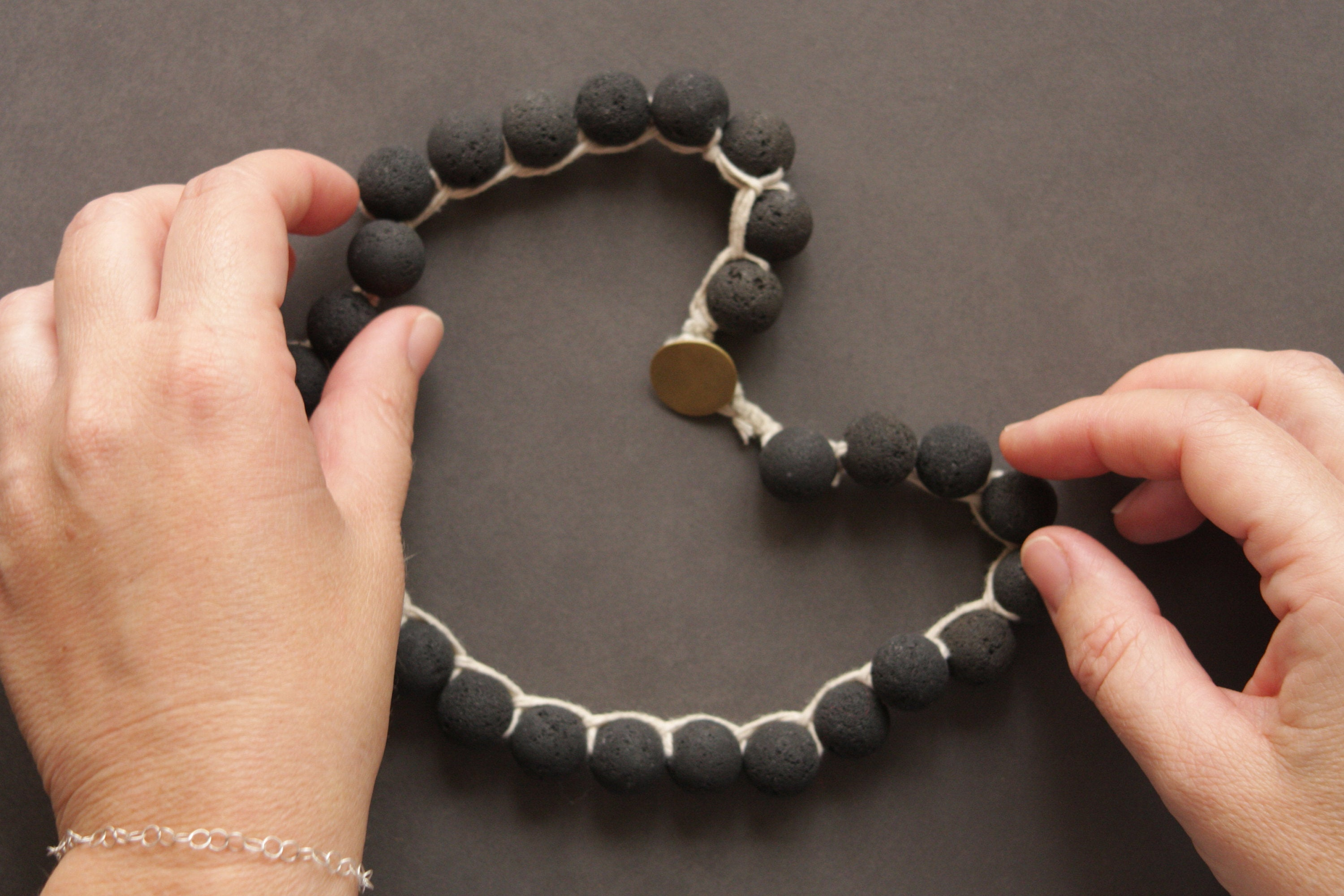 Black Lava and Silver Button Closer Rough Stone Necklace By Hadas Shaham - hs