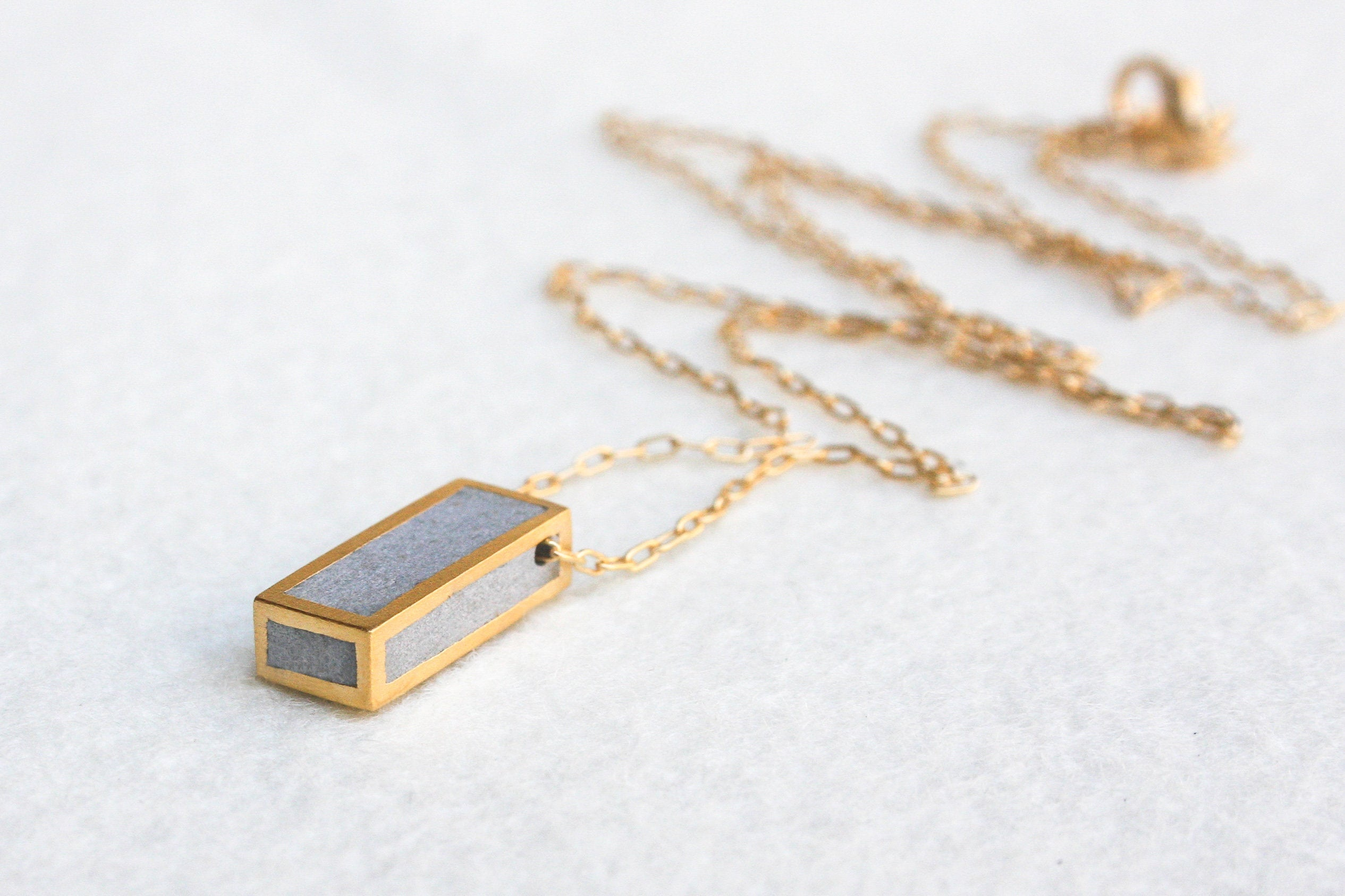 Geometric Rectangle Gold Pendant Inspired By Architecture - hs