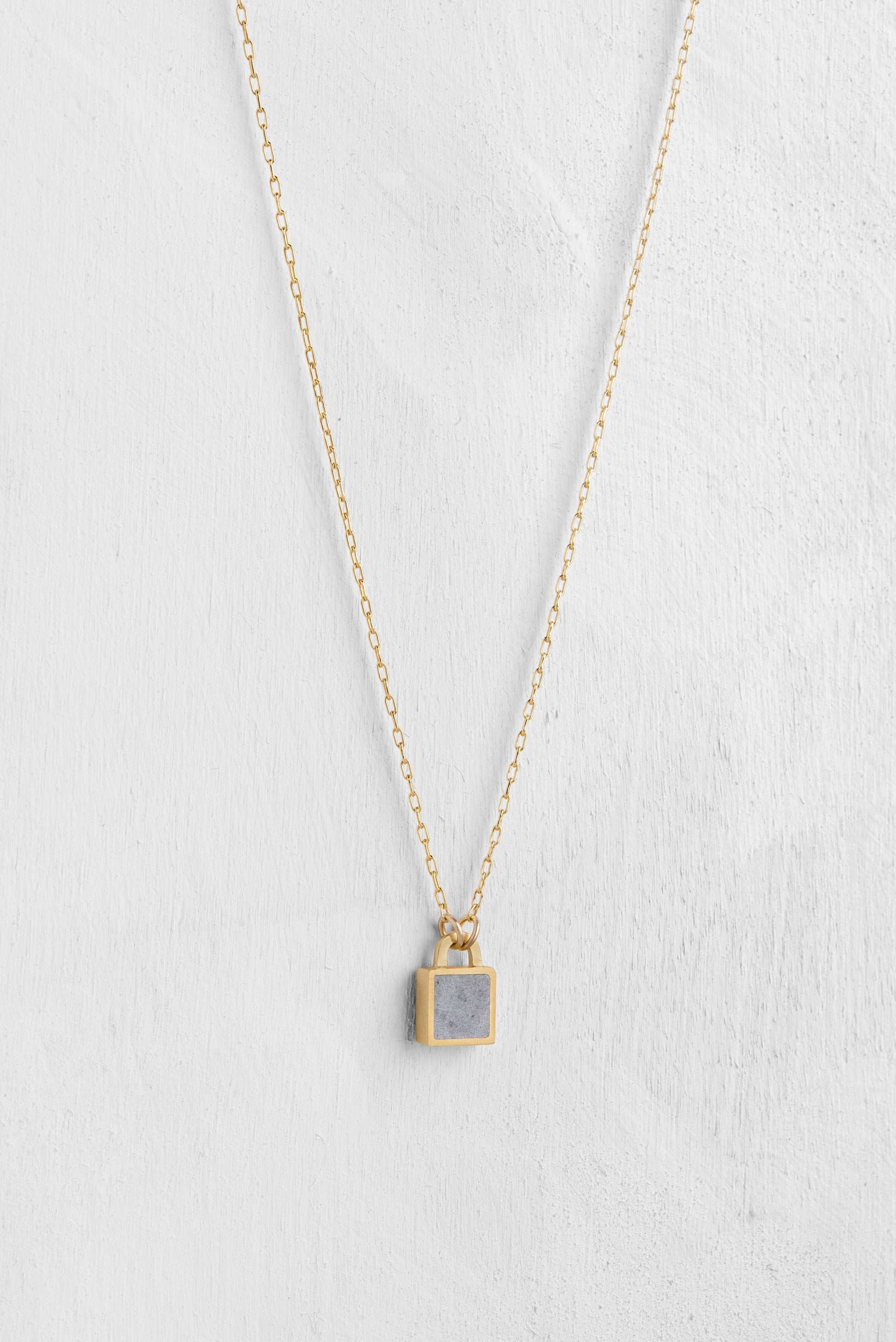 Concrete lock pendant, Concrete jewelry, Sq lock Necklace, Tiny Gold Necklace, Geometric Everyday necklace, Minimalist pendent, Gift for her - hs