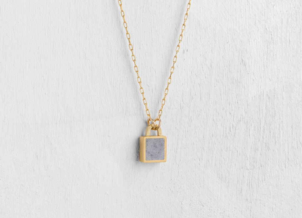 Tiny Sq lock Concrete Pendant - hs