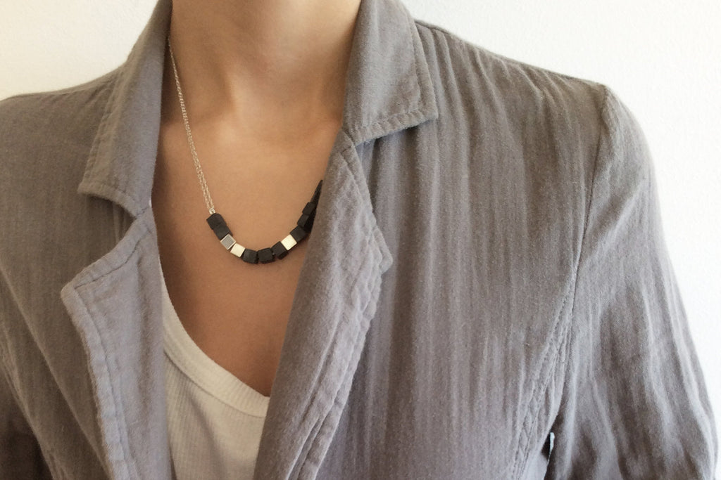 Concrete Silver And Onyx Cube Necklace, contemporary necklace By hadas shaham - hs