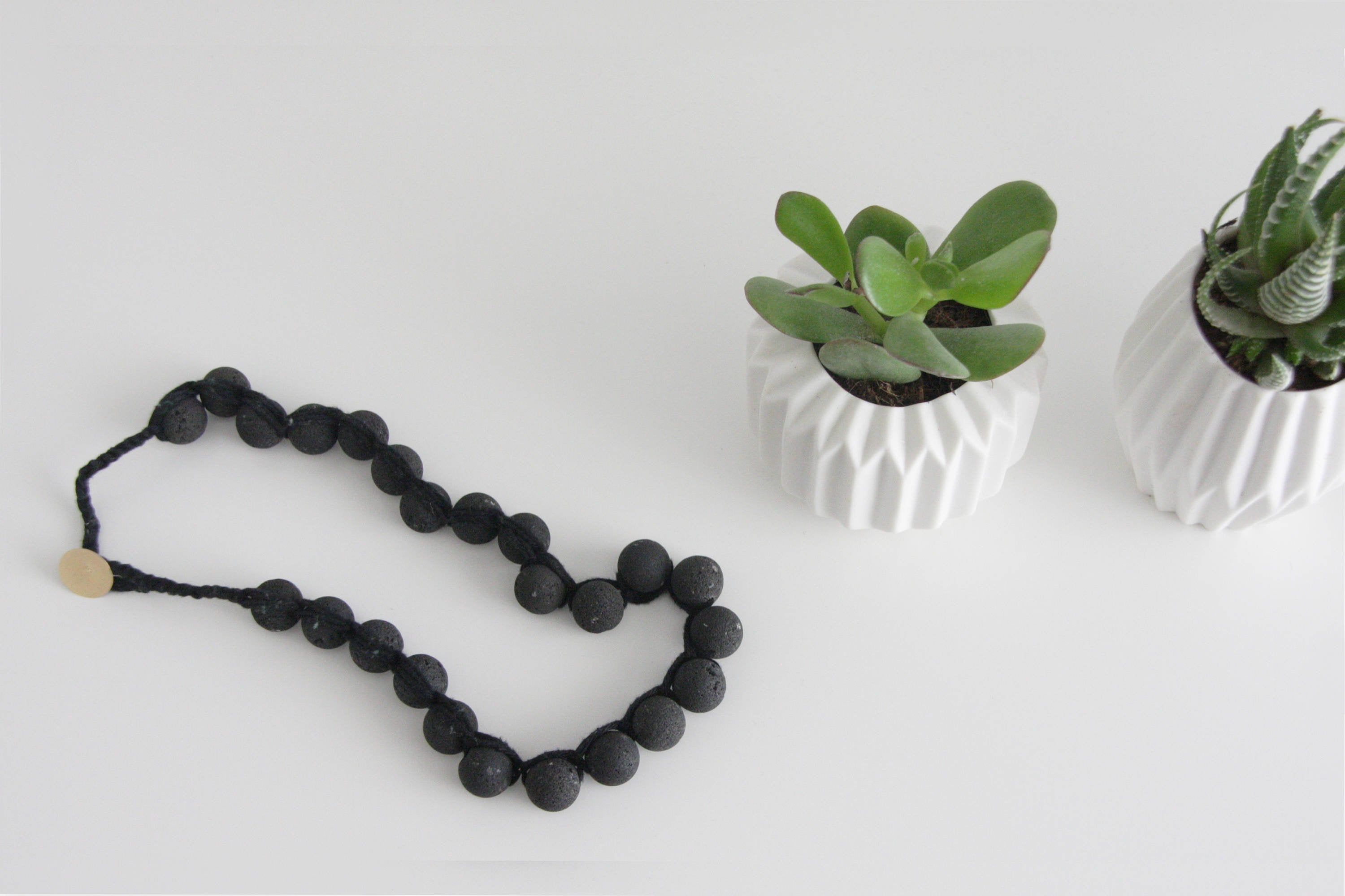 Black Modern Lava necklace, Rough Necklace, Black beaded necklace - hs
