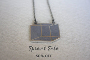 SALE 50% OFF -  Industrial Silver 3D Cube Necklace - hs
