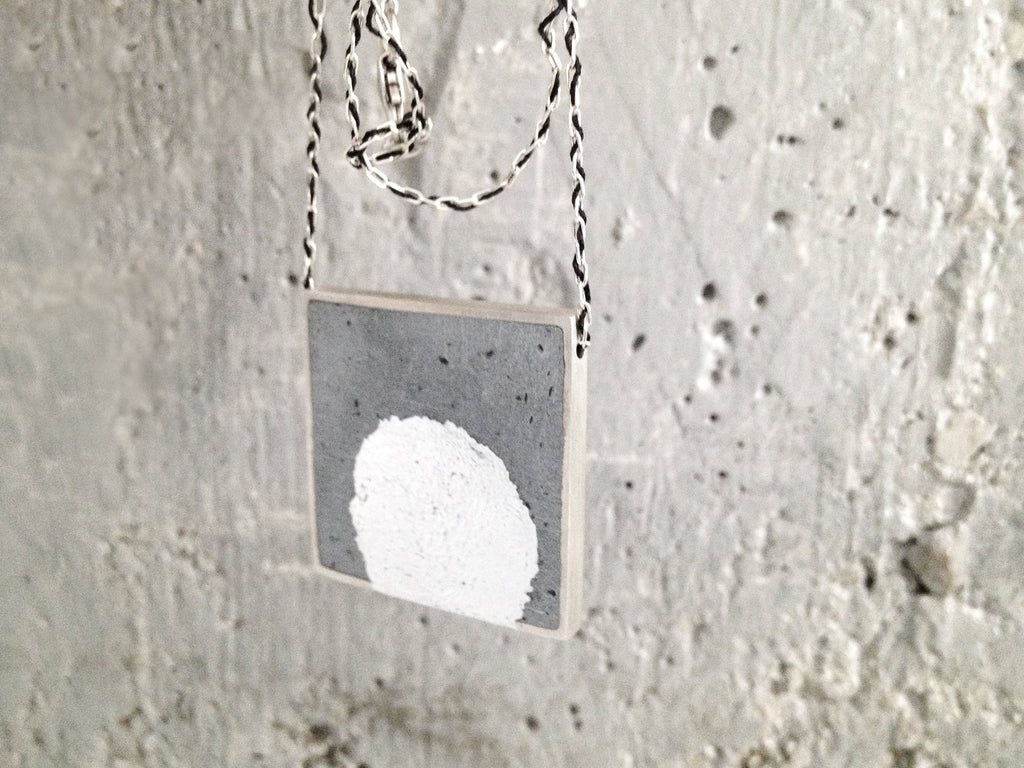 Square Silver Frame Concrete Pendant With Center Silver Leaf - hs