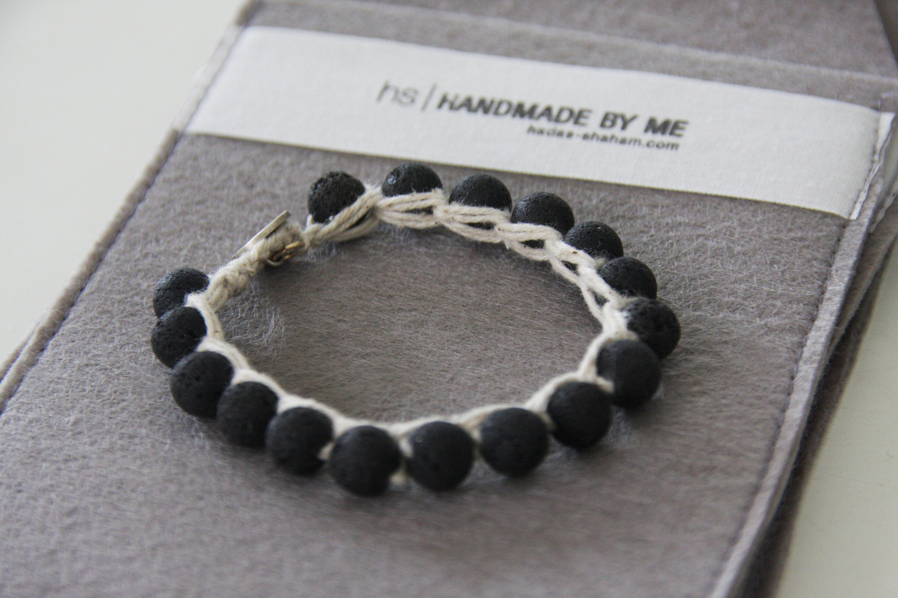 Unisex Black Lava and Silver Button Closer Bracelet / Hand-Knitted Bracelet With Raw Thread By Hadas Shaham - hs