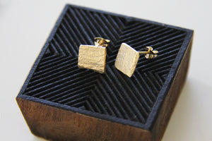 Organic Texture Square Shape Flat studs Earrings - hs