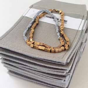 Tiny contemporary gold & concrete cubes necklace - hs
