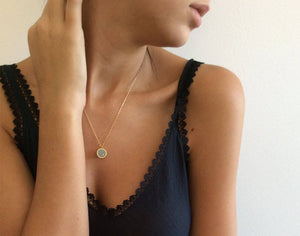 Round Gold & Concrete Dot Pendant Necklace - hs