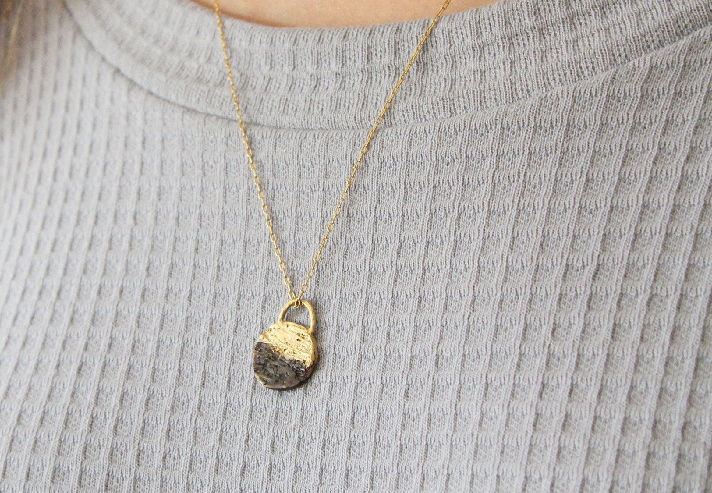Black And Gold Pendant, Gold Organic Round necklace Pendant, Natural Necklace For Women, Rustic Pendant - hs