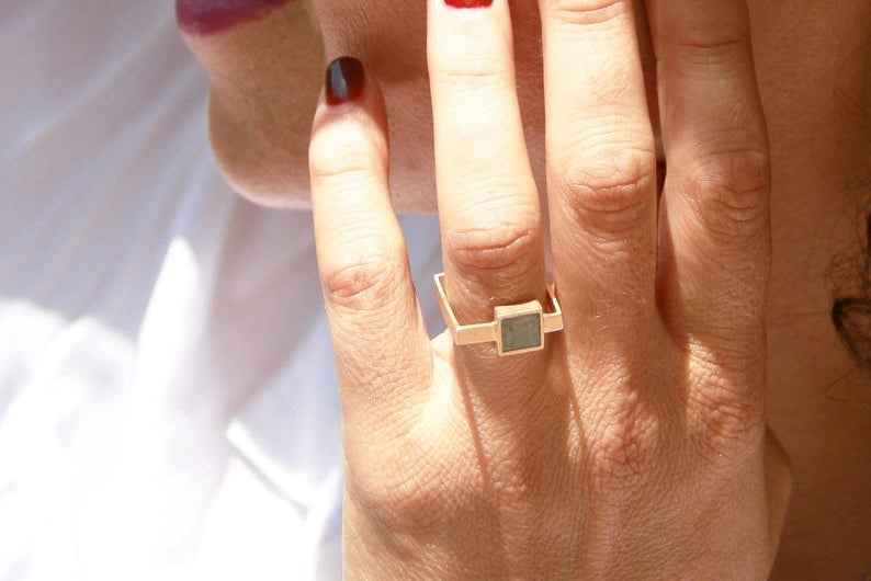 14K White Solid Gold Concrete Square Ring / Gold And Concrete Statement Ring - hs
