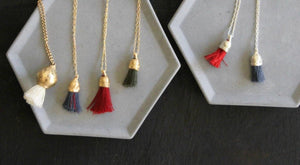 Nature Necklace / Red Tassel Necklace / Gold And Cotton Pendant / Organic Necklace / Gold Charm Pendant - hs