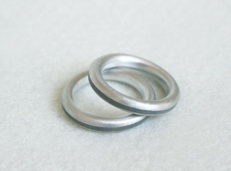 Wedding Band Set - Couple Of Industrial Minimalist Silver Concrete Jewelry - hs