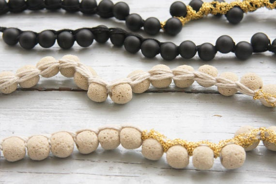 White / Black Lava and Goldfield Knitted Chain Necklace - hs