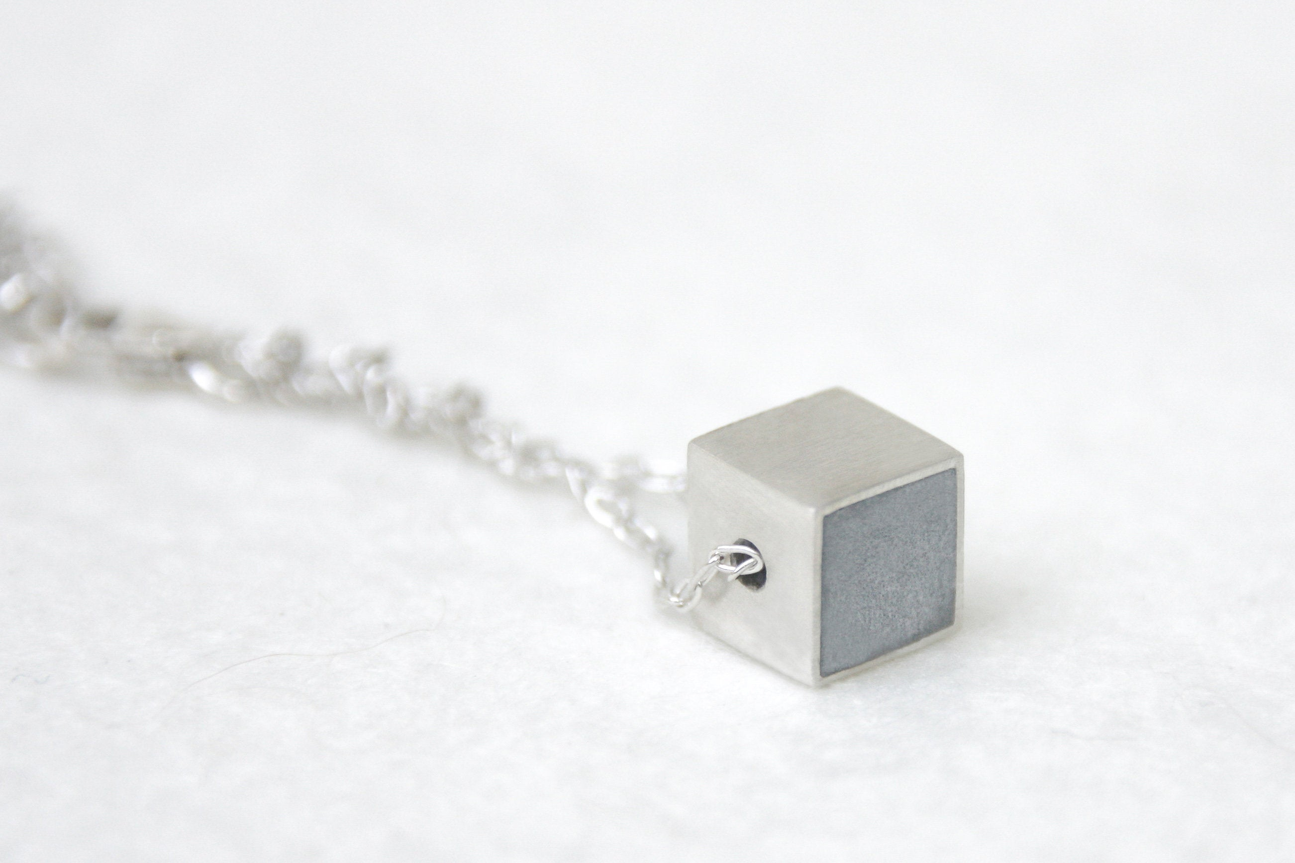 Tiny Cube Necklace with Oxidize Silver Chain - hs